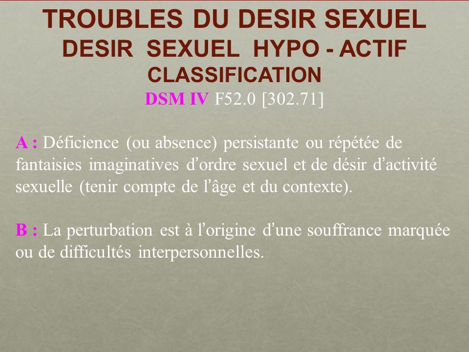 TROUBLES DU DESIR SEXUEL DESIR SEXUEL HYPO - ACTIF CLASSIFICATION DSM IV F52.0 [302.71]
